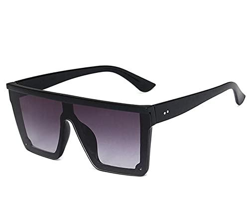 KTZAJO Gafas de sol cuadradas de lujo con diseño de marca vintage, gafas de sol con marco grande, gafas rojas y moradas, UV400 (color: gris degradado)
