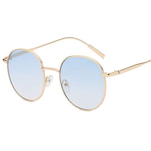 YTYASO Gafas de Sol Redondas para Mujer Gafas de Sol para Mujer Gafas de Sol con Espejo de aleación para Mujer