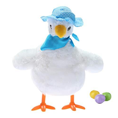 Nevay Elektrisches Geh-Ei liegend Huhn Spielzeug elektrisch Musik Plüsch Stofftier Spielzeug Plüschtier Huhn Interaktives Spielzeug Kind Simulation Huhn Spielzeug Hatchery Eier