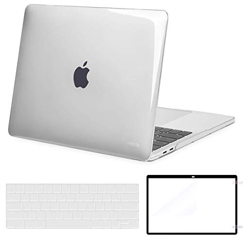 MOSISO MacBook Pro 15 inch Case Corner Protective Compatible with MacBook Pro 15 2019 2018 2017 2016 Release A1990 A1707 Touch Bar, Plastic Hard Shell&Keyboard Cover&Screen Protector, Crystal Clear