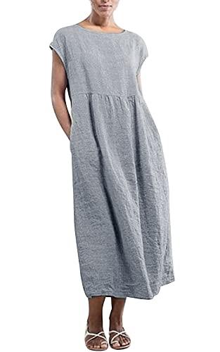 MAGIMODAC Shirtkleid Leinenkleid GR.36-54 Baumwolle Tunika T Shirt Kleider Freizeitkleid Sommerkleid Lang Ärmellos mit Taschen (Etikett L/EU 42, grau)