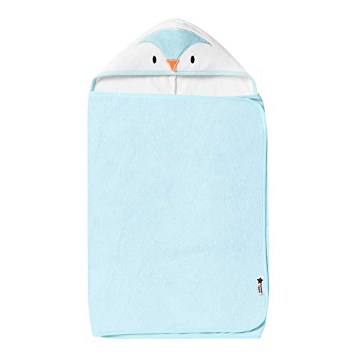 Tommee Tippee Splashtime Hug 'n' Dry Hooded Towel, Highly Absorbent and Super Soft Microfibre Material, Hypoallergenic, 6-48m, Percy the Penguin Grofriend, Blue