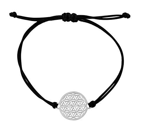 Nuoli® Blume des Lebens Armband Damen Silber (14-20 cm verstellbar) Lebensblume Armbändchen für Frauen & Mädchen