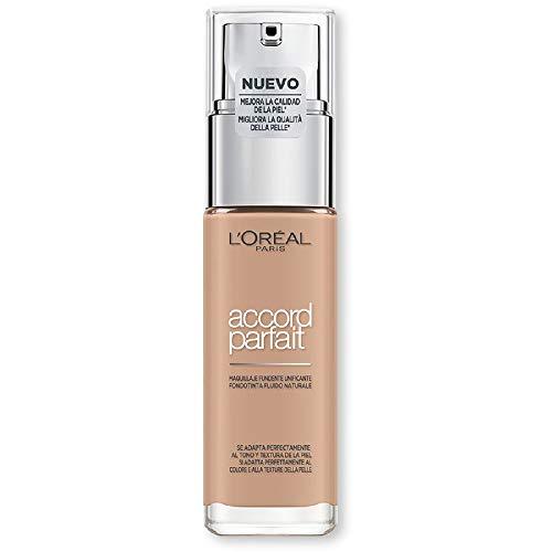 L'Oréal Paris Accord Parfait, Fondotinta Liquido, Pelli da Secche a Normali, Formula arricchita con acido ialuronico, Colore Beige (4.N), 30 ml