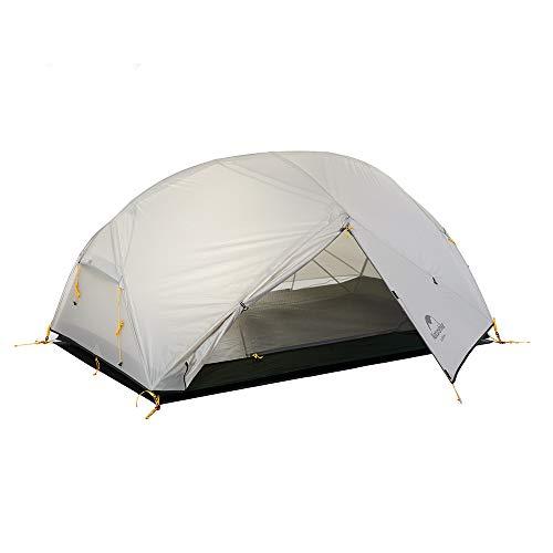 Naturehike Mongar 2 Personnes Tente Ultralégère 20D Tente de Randonnée en Silicone pour Cyclisme Randonnée Camping (20D Gris)
