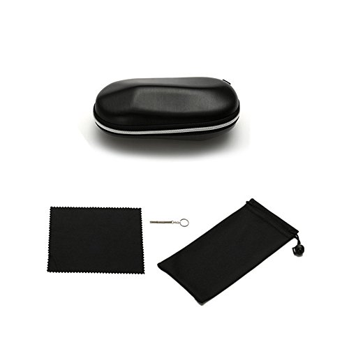 TJW Dur Portable étui à Fermeture Éclair Box, Black Zipper Lunettes de Soleil Case Box Lunettes en Forme de Pochette Sac avec Sac de Rangement Chiffon de Nettoyage et Tournevis