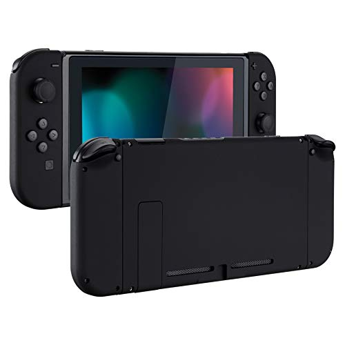 eXtremeRate Soft Touch Grip Back Plate for Nintendo Switch Console, NS Joycon Handheld Controller Housing with Full Set Buttons, DIY Replacement Shell for Nintendo Switch - Black