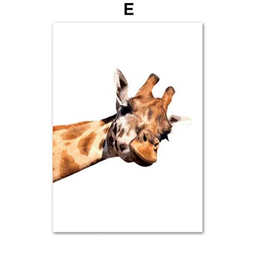 SDFSD Alpaka Tiger Ente Igel Eichhörnchen Bär Wandkunst Leinwand Malerei Nordic Poster und Drucke Wandbilder für Wohnzimmer Dekor E 60 * 80cm