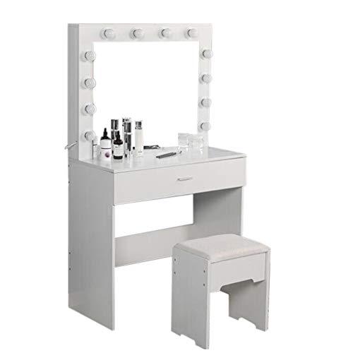 EuCoo Vanity Set with Lighted Mirror,Makeup Vanity Dressing Table Dresser Desk with Large Drawer for Bedroom,Modern Women Dressing Table Bedroom Furniture Girls Women Gifts
