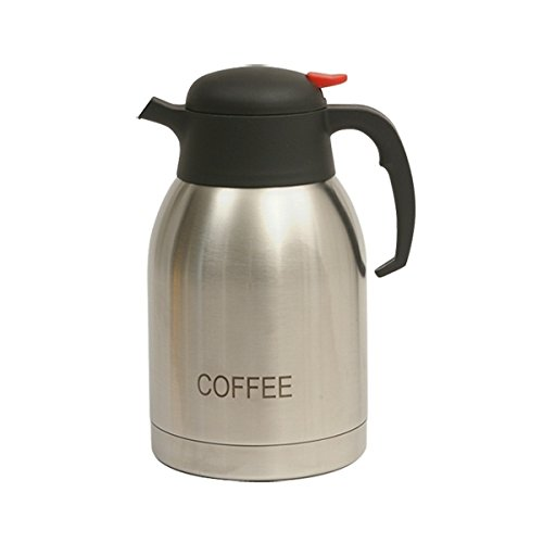 Genware nev-v2099coffee Vakuum Push Button in Kaffee Krug, Edelstahl, 2.0 L