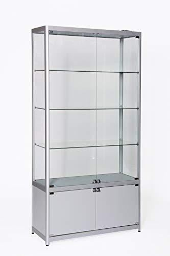Dila GmbH Glasvitrine mit Unterschrank LED Beleuchtung B x H x T: 100 x 198 x 40 cm | Vitrine aus Sicherheitsglas | Vitrinenschrank | Verkaufsvitrine Ausstellungsvitrine abschließbare Glasfügeltüren