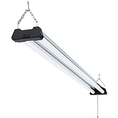 Sunco Lighting Industrial LED Shop Light, 4 FT, Linkable Integrated Fixture, 40W=260W, 5000K Daylight, 4000 LM, Surface + Suspension Mount, Pull Chain, Utility Light, Garage- Energy Star