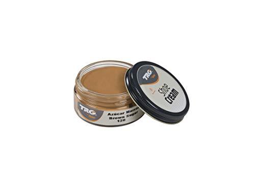 TRG The One - Crema Protectora para Calzado de Cuero a base de ceras | Betún para Zapatos de Piel y Piel Sintética | Nutre, da brillo y mantiene el color | Shoe Cream #120 Azúcar Marrón, 50ml