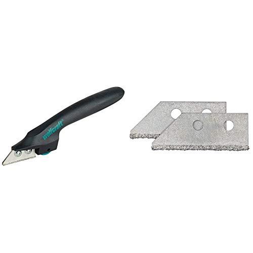 Wolfcraft 5570000 Rascador de juntas para juntas de baldosas (juntas de argamasa) 2-6 mm + 5571000 cuchillas de repuesto para rascadores de juntas ref. n° 5570000