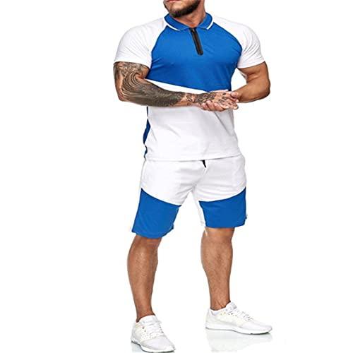 Conjunto deportivo de verano para hombre, conjunto de 2 piezas de manga corta camisetas y pantalones cortos con estilo casual