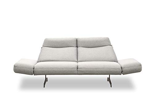 DOMO. collection Arezzo 2-Sitzer Couch Rückenfunktion, Designer Garnitur Relaxfunktion 2er Polster, grau, 219x99x94