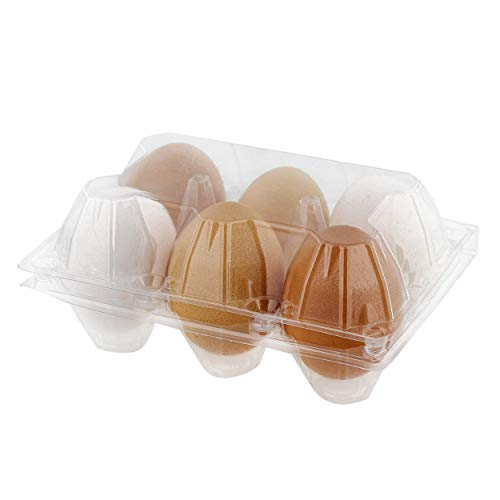 Rural365 Plastic Egg Carton for 6 Eggs 12ct - Reusable Chicken Egg Holder Stackable Egg Storage Container with Lid