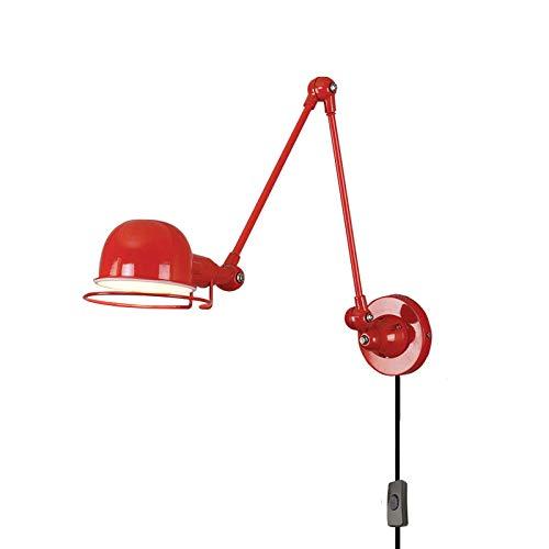 LLLKKK Lámpara de pared industrial de metal con interruptor y cable de 1,5 m, brazo giratorio ajustable E14, iluminación de pared para salón, cocina, comedor, dormitorio, mesita de noche