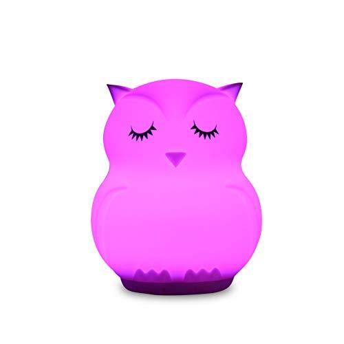 XHSHLID 9 kleuren uil heeft het nachtlampje zonder kabel Bluetooth luidspreker muziekspeler USB-lader bedlampje bedlampje van siliconen voor kinderen