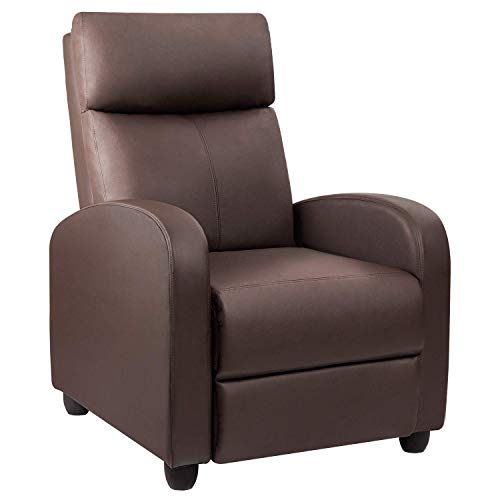 Devoko Recliner Chair Home Theater Seating Pu Leather Modern Living Room Chair Furniture with Padded Cushion Reclining Sofa Chairs (Brown)