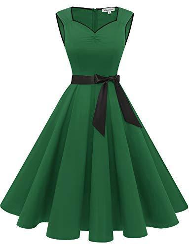 Gardenwed Damen 1950er Vintage Retro Rockabilly Kleider Petticoat Faltenrock Cocktail Festliche Kleider Green M