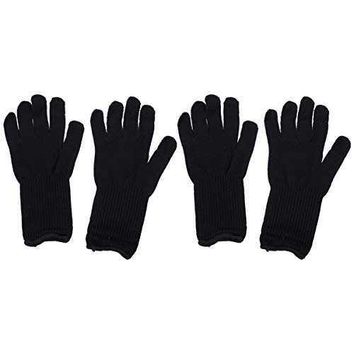 Lurrose gant résistant à la chaleur pour baguette de cheveux fer plat mains gauche et droite style barbier perm bigoudi outil 2 paires noir