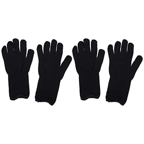 Lurrose hittebestendige handschoen voor de haarstok plat ijzer voor de linker- en rechterhand in kappersstijl permanente golf krulspelden 2 paar zwart