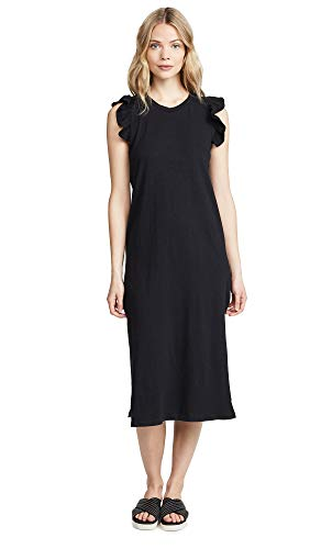 SUNDRY Women's Ruffled Midi Dress, Black, 0