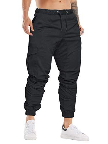 Cindeyar Herren Hosen Slim Fit Casual Jogger Sporthose Freizeithose Cargo Chino Jeans Hose (Schwarz 01,XL)