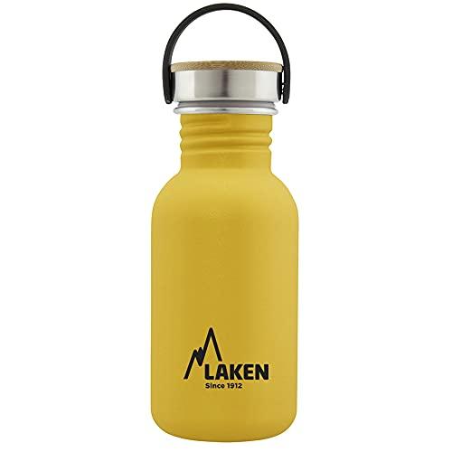 Laken Botella de Acero Inoxidable con Tapón de Rosca Acero y Bamboo y Boca Ancha 500ml, Amarillo