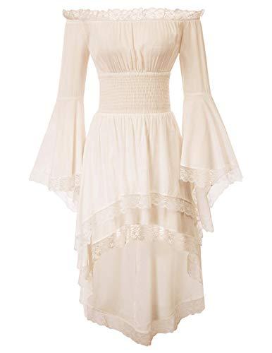 KANCY KOLE Women's Renaissance Dress Plus Size Medieval Costume Pirate Peasant Boho Chemise with Lace Trim (Apricot,XXL)