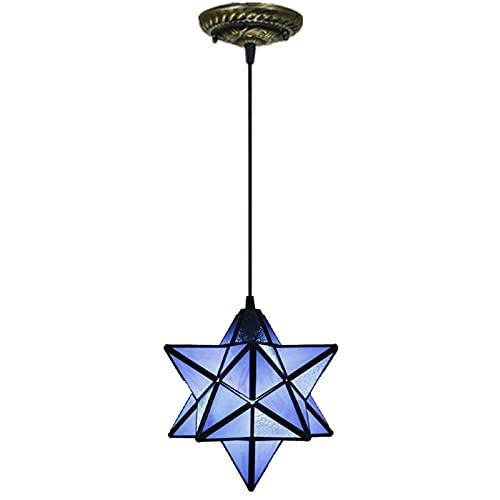 Lámpara colgante de techo creativa, lámpara colgante de vidrio manchado de estrella de cinco puntas estilo Tiffany moderno de 12 pulgadas, lámpara de araña para bar, hotel, balcón, 40 W,Dark Blue