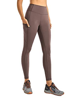 CRZ YOGA Women's High Waisted Yoga Pants with Pockets Naked Feeling Workout Leggings-25 Inches Purple Taupe 25'' XX-Small