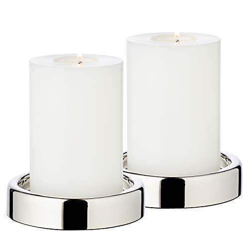 EDZARD 2er Set Kerzenständer/Kerzenteller Sanremo, Edelstahl, Durchmesser 10 cm, Kerzenhalter, für Stumpenkerzen oder Blockkerze, Perfekt für Cornelius Kerzen