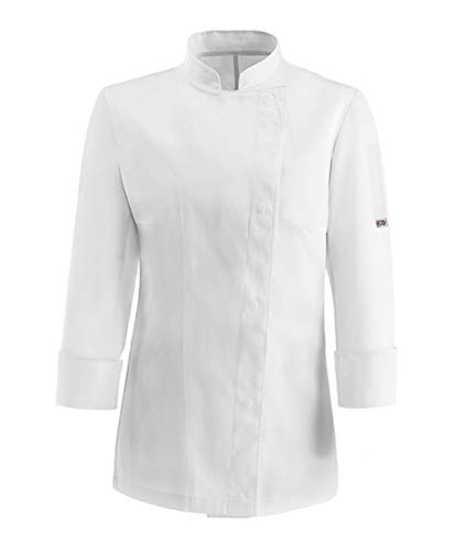 EGOCHEF - Giacca Chef Donna Girl - Modello Slim Fit (M, White 100% Cotone)