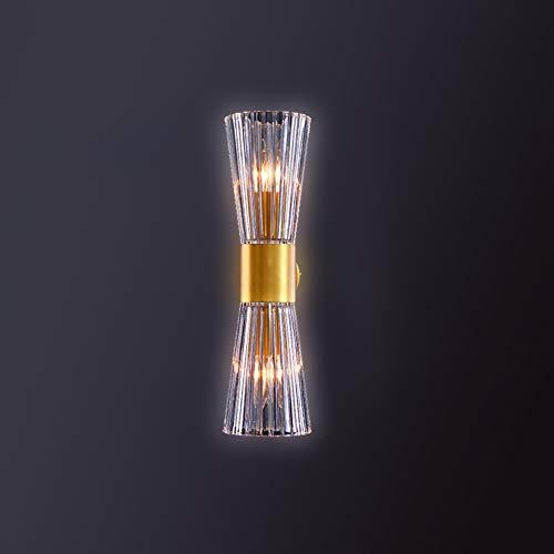 RUGU Glas-Wand-Lampe, warme gelbe Licht-Hochdurchlässiger Wandleuchte-Waschmaschine Messing Wandaufbauleuchten für Schlafzimmer, Wohnzimmer, Flur, Hotel Corridor Treppen