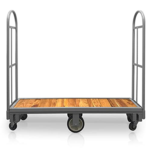 Narrow Aisle U-Boat Platform Truck Dolly | 16 x 60 Inch Heavy Duty Utility Cart with Thick Wood Deck | Premium Hand Truck Can Hold Loads Up to 2,000 Pounds | Hand Cart with Dual Removable Handles