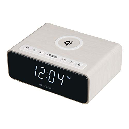 Digitale wekker met draadloze Qi-oplader, FM-wekker, dual-alarm, snooze en led-display, 12/24-uur
