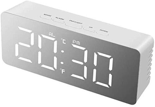 Luz de Noche Lámpara de Mesa LED Dormitorio Lámpara de Noche Reloj electrónico Digital Lámpara de Escritorio con Espejo de Maquillaje Mesa Reloj Despertador Rectángulo-Rectángulo