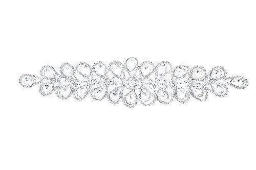 Trimming Shop Estrás Motivo Cristales de Diamante para Coser Parche Aplique - Ideal para Boda Vestido de Novia, Informal o Formal Ropa Accesorios de Moda 230mm x 60mm (Aprox) Parche N.º A139