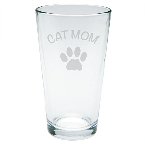 Mother's Day - Cat Mom Etched Pint Glass