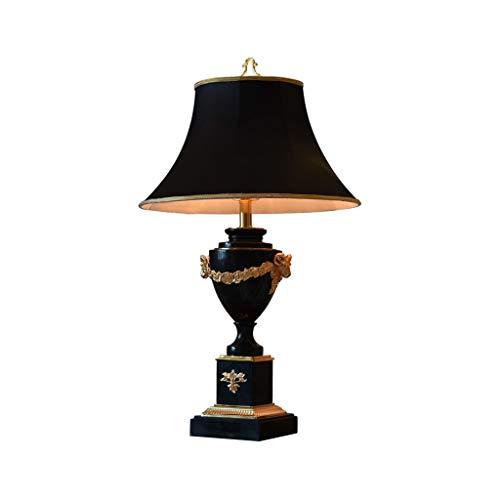 Lámpara de mesa Led Lámpara de mesa de mármol negro europeo Lámpara de mesa decorativa creativa adecuada for estudio, habitación de invitados y sala de estar Lámpara de noche Luz de Nocturna oficinas