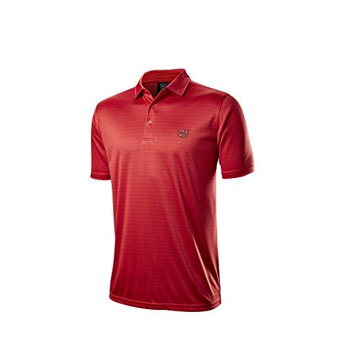 Wilson Staff Hombre Polo de golf, WILSON STAFF STRIPE POLO, Poliéster, Rojo, Talla L, WGA700729LG