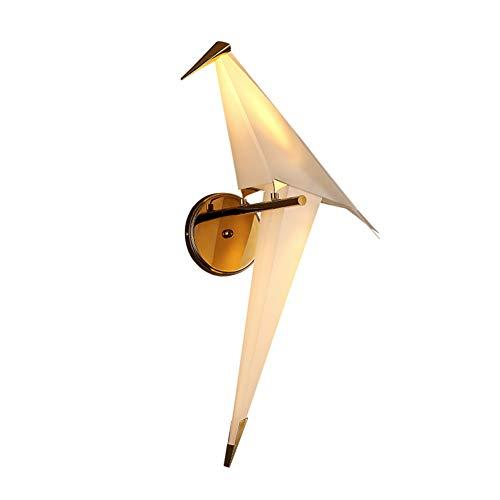 SHCOE Moderna luz de Pared LED Elegante diseño de pájaros Creativo lámpara de Pared Origami Papel grúa Swinging acrílico lámpara Interior Dormitorio Cama Junto a la Cama, 12w