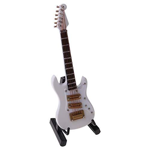 YOUSHI 10 cm Copia de Mini Guitarra Eléctrica, Con Caja Rack Instrumento Musical Modelo Blanco Rojo Café Negro Mini Guitarra Modelo Para Regalos (Color: Blanco)