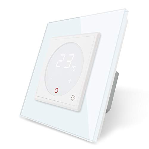 LIVOLO Raumthermostat Thermostat mit Glas Rahmen für Heizung Fußbodenheizung weiß VL-C7-01TM-11-A