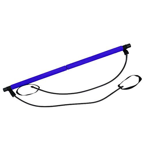 Elonglin Pilates Bâton, Bâton de Fitness équipement de Yoga Maison Multifonction Sports Tirez la Corde, Corde élastique Dos Formateur Hommes Femmes Maison Sports Corde de Tension (Bleu)