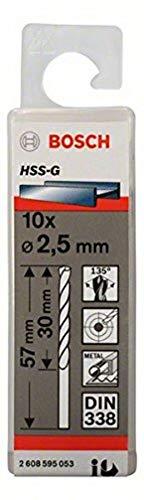 Bosch Professional Metallbohrer HSS-G geschliffen (10 Stück, Ø 2,5 mm)