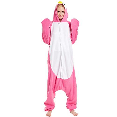 WANGLXPA Weicher Pinguin Onesie Jumpsuits Halloween Kostüm Pyjama Oberall Hausanzug Kigurum Schlafanzug - Pink Kostüme, M