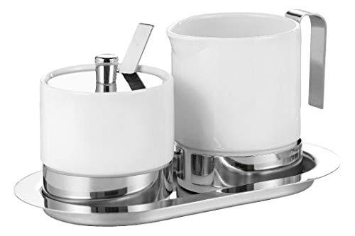 Esmeyer Adam - Service de 5 sucriers et Pots à crème Adam, en Porcelaine Blanche et INOX, composé de : Pot à crème 0,25 Litre,
